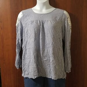 Lane Bryant lace shoulder stripe blouse size 18/20